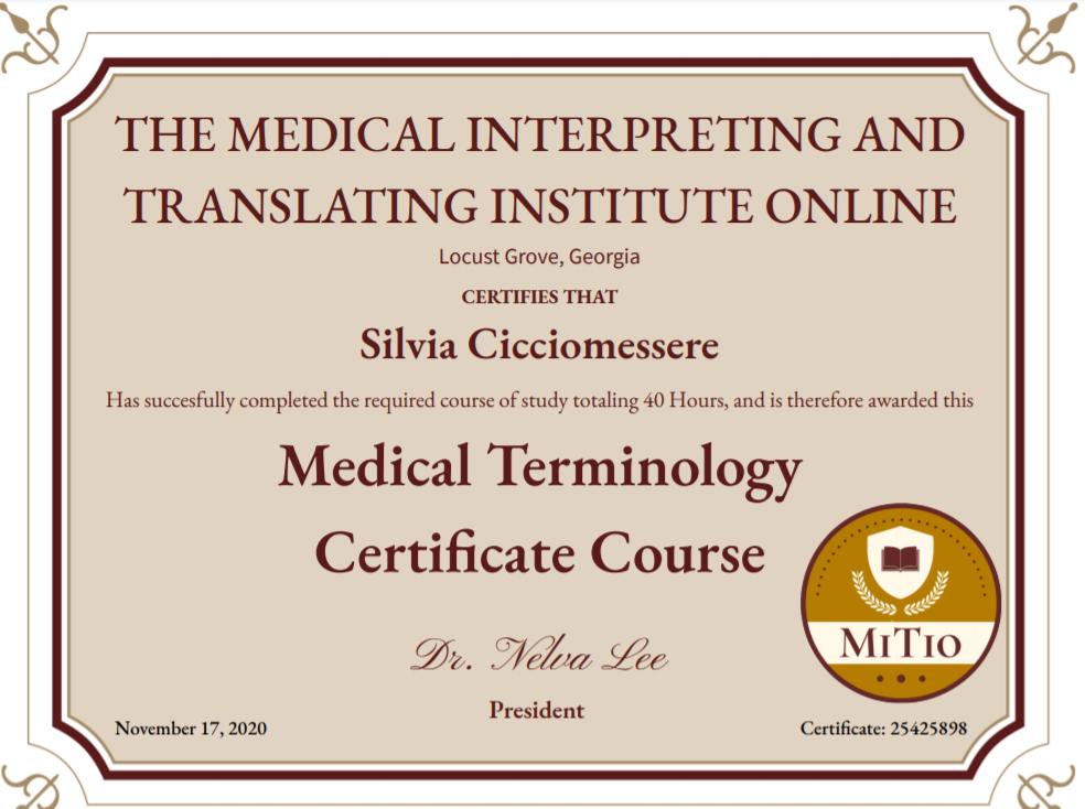 Corso di Terminologia Medica per Interpreti in ambito medico