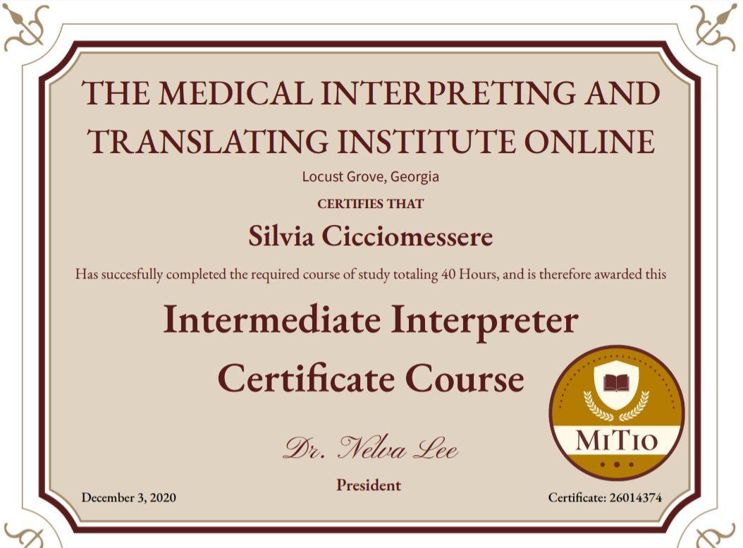 Corso di Certificazione per Interpreti in ambito medico livello intermedio