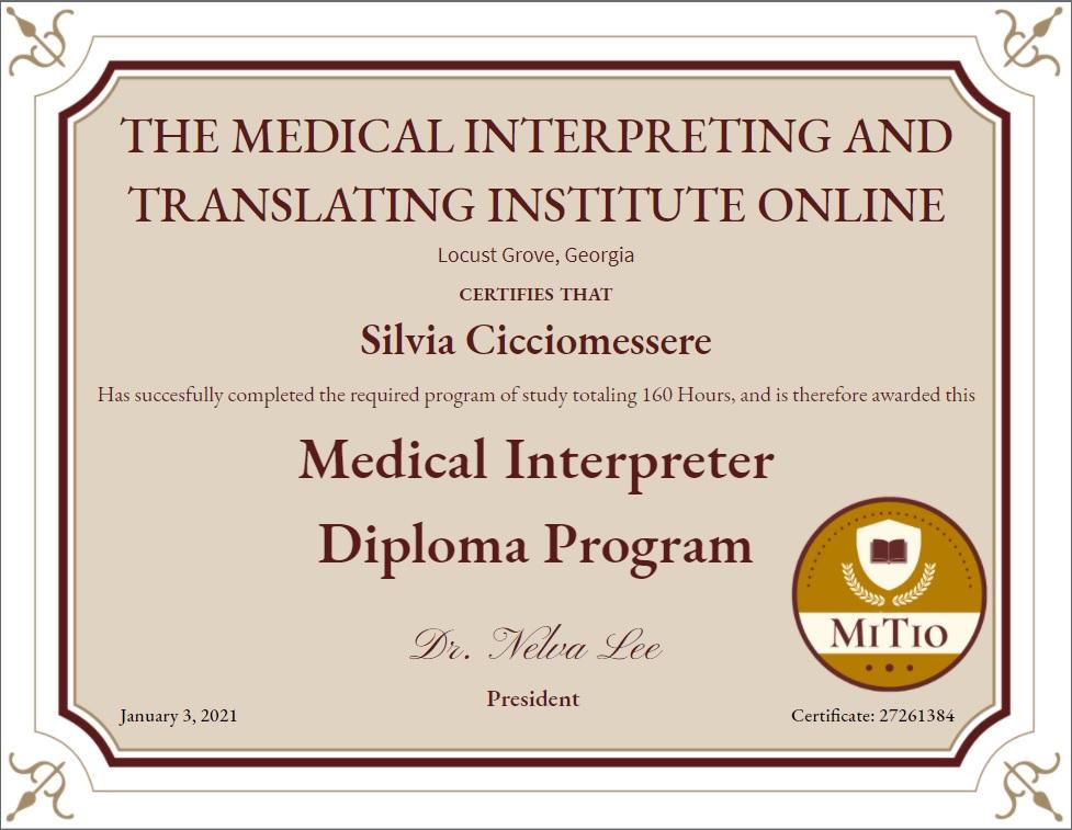 Diploma di Interprete in Ambito Medico