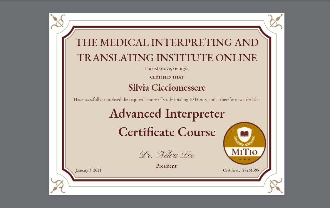 Certificazione avanzata di interpretazione in ambito medico